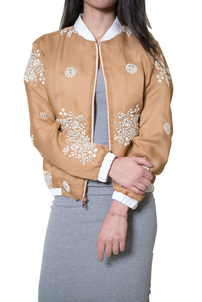Honey 'Geo' Floral Bomber