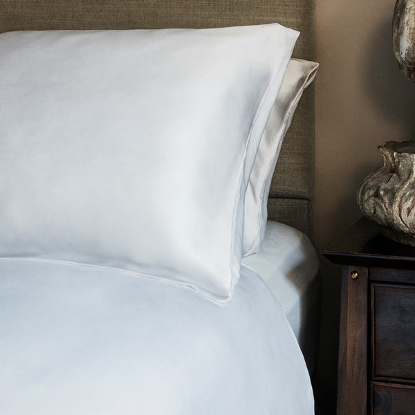 White Charmeuse Silk & Bamboo Pillowcases (Set of 2)