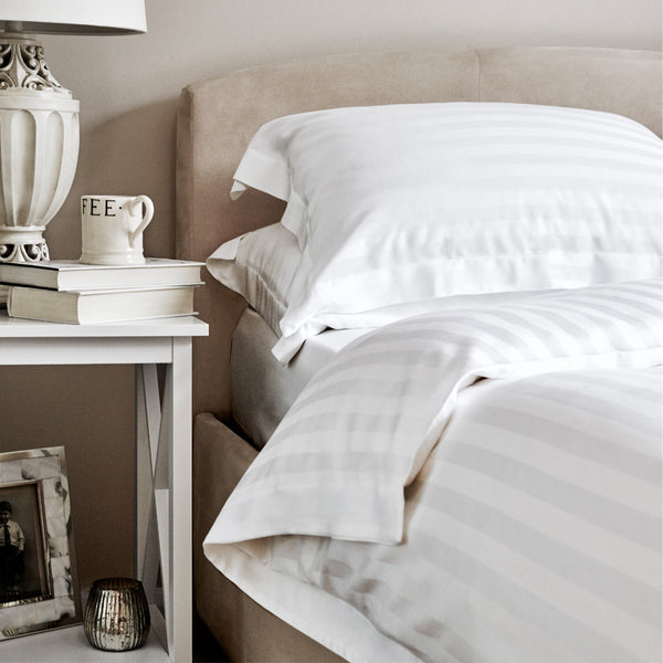 White Sateen Stripe Bamboo Duvet Cover - 400 Thread Count
