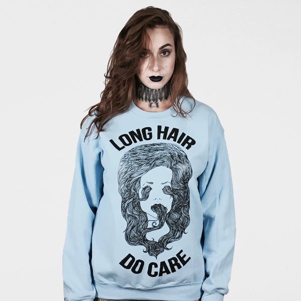 LONG HAIR DO  CARE BLUE SWEATER