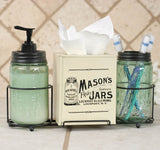 Mason Jar Bathroom Caddy with Mason Jars and Tissue Box Cover - McDowell Design Co.