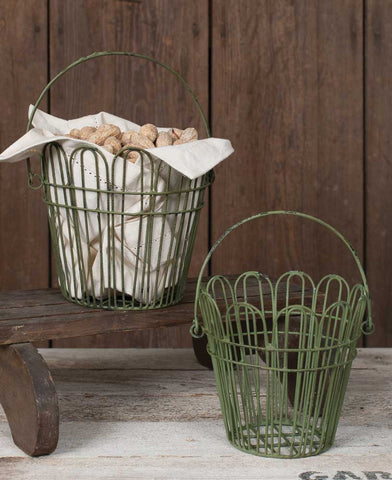 Green Wire Basket - Set of Two Sizes - McDowell Design Co.