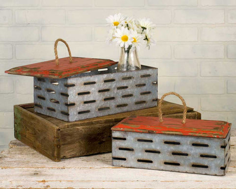 Set of Two Perforated Bins with Wood Lids - McDowell Design Co.