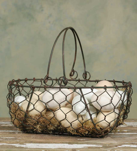 Gathering Basket - Green/Rust - McDowell Design Co.