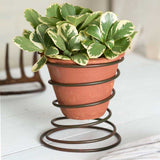 Bedspring Caddy with Terra Cotta Pot (Set of two)