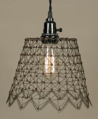 French Wire Pendant Lamp - Green/Rust - McDowell Design Co.