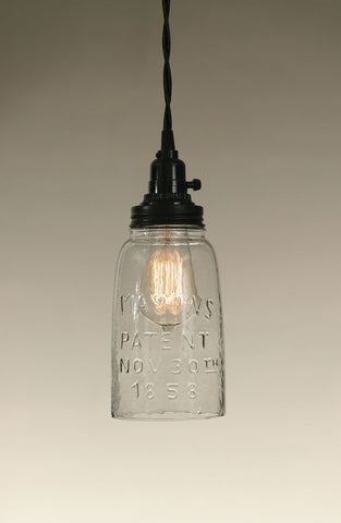 Half Gallon Open Bottom Mason Jar Pendant Lamp - Clear Glass - McDowell Design Co.