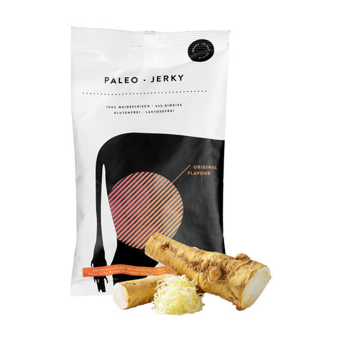 paleo jerky horseraddish flavour, beef jerky, hiking snacks, backpacking food ideas