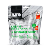 cream of broccoli and spinach soup, lyo food, backpacking lunch ideas, freeze dried meals
