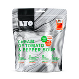 cream of tomato and pepper soup, lyofood, freeze dried meals