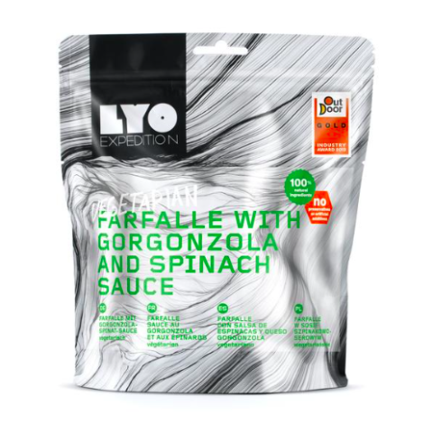 lyofood farfalle with gorgonzola, freeze dried camping meals, backpacking food, good trail food