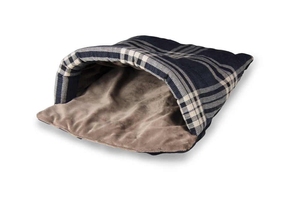 Charcoal Check & Taupe Velour Luxury Snuggle Tunnel - HiK9