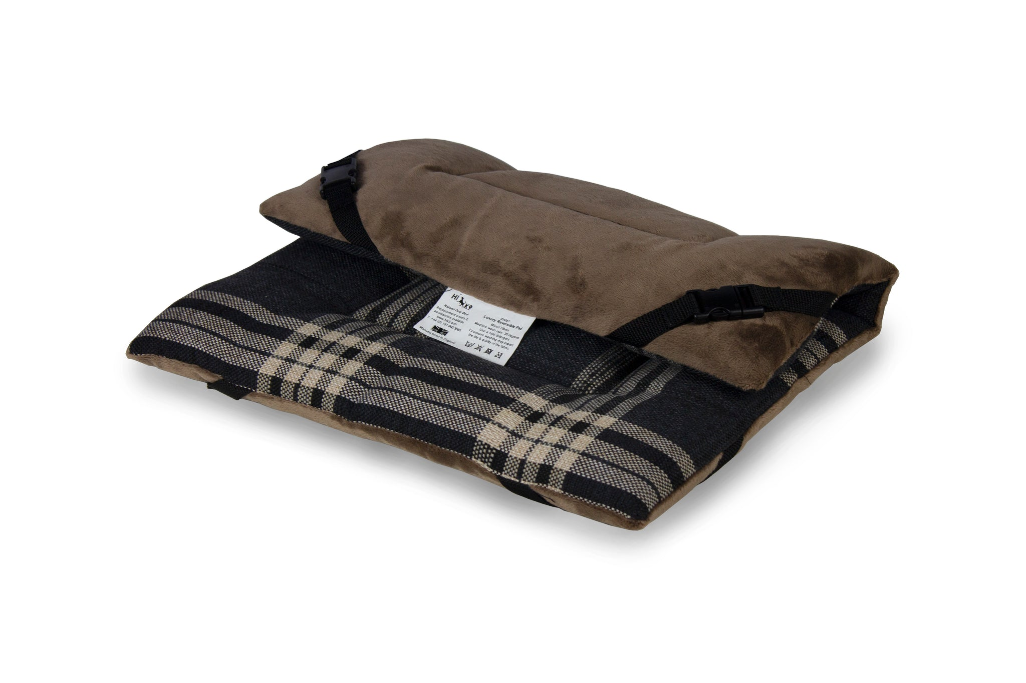Charcoal Check & Taupe Velour Luxury Reversible Pad - HiK9