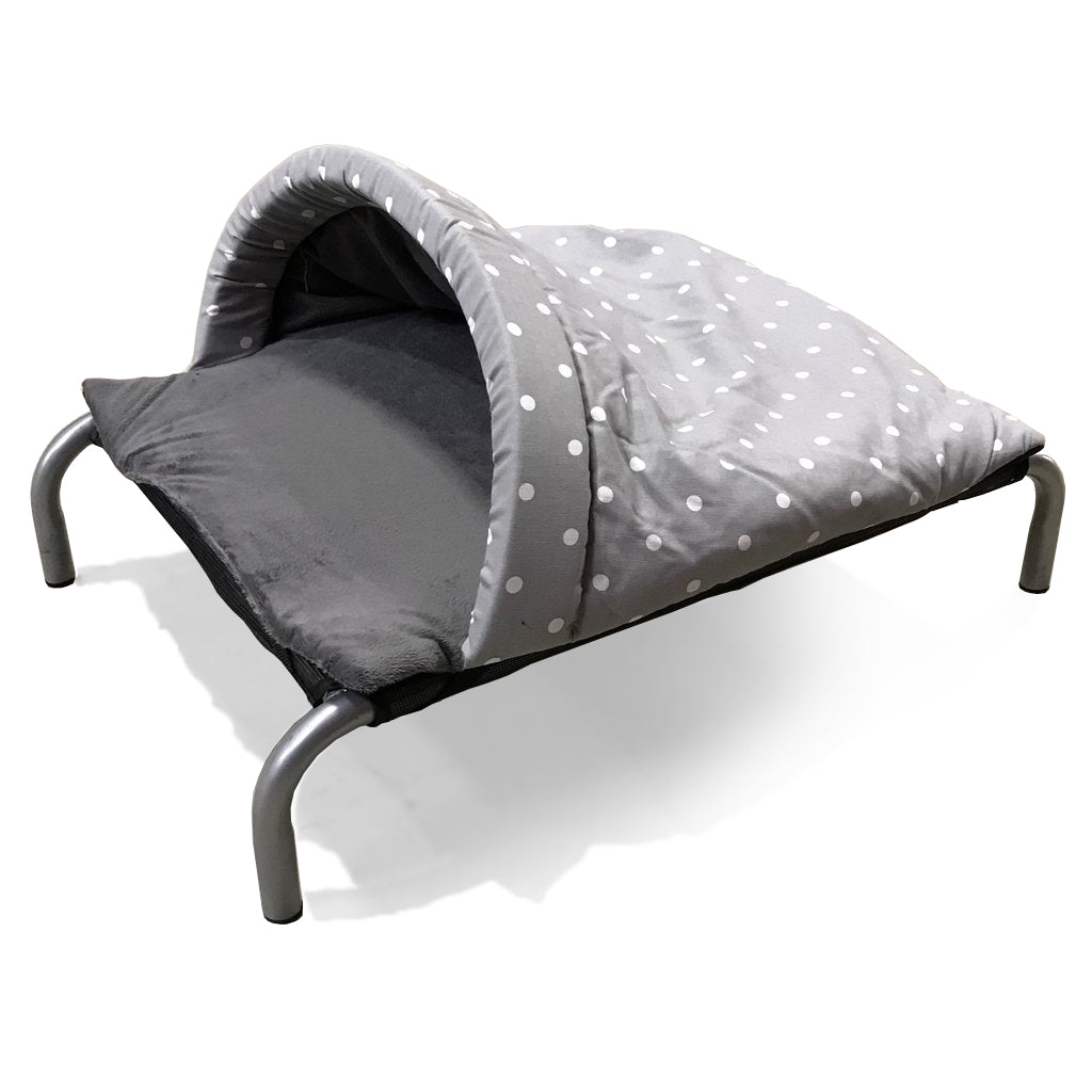 Dotty Smoke & Grey Velour Luxury Snuggle Tunnel - HiK9