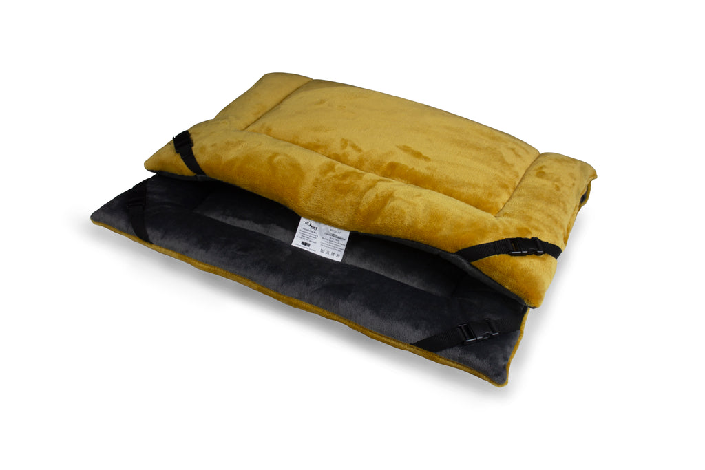 Mustard Cuddle Soft & Charcoal Velour Luxury Reversible Pad - HiK9