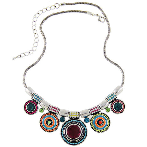 Vintage Silver Plated Colorful Rhinestone Bead Pendant Statement Necklace