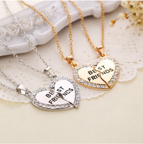 Best Friend Slice Heart Necklace