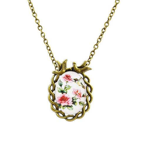Vintage Antique Bronze Oval Flower Bird Necklace