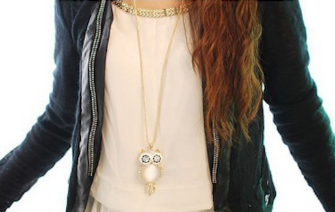 Crystal Owl Necklace Available in 3 Colors....Get yours free!!!