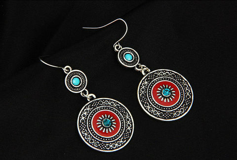 Vintage Style Bohemian Silver Plated Earrings