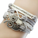 Women's Braided Leather Owl Love Bracelet