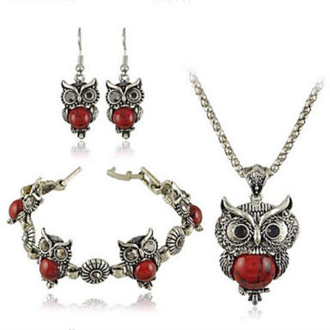 Women's Lovely Owl Jewelry Necklace Earrings Bracelet Set Various Colors