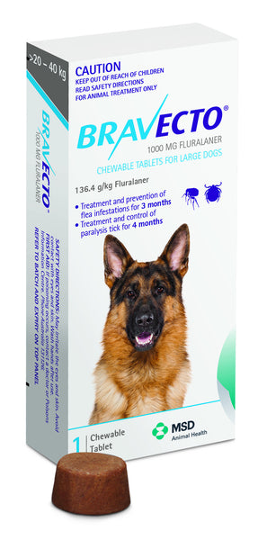 BRAVECTO- 1 X CHEW (Fleas/Tick Prevention upto 4mths)