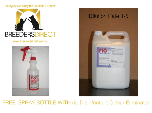 F10 ODOUR ELIMINATOR 5L Disenfectant Concentrate + FREE SPRAY BOTTLE
