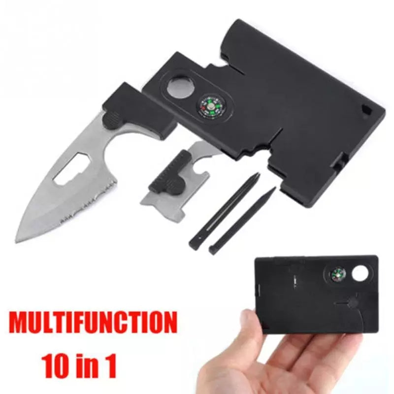 10 In 1 Multi Purpose Survival Tools Pocket Credit Card Outdoor Camping Knife