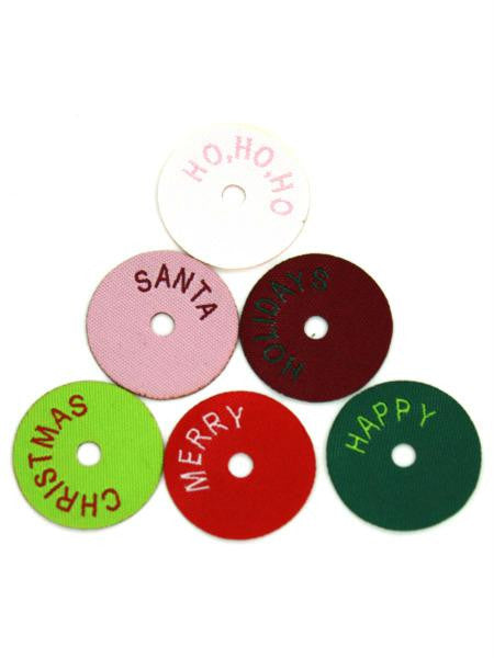 Christmas circle washer tags, pack of 12 (Available in a pack of 24)