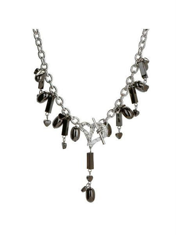 Michele Caruso Black Metallic Bead and Heart Necklace (Available in a pack of 4)