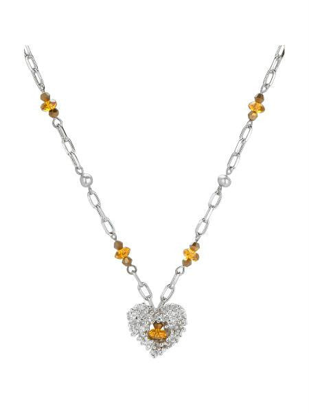 Silver Heart Necklace With Glass Beads (Available in a pack of 4)