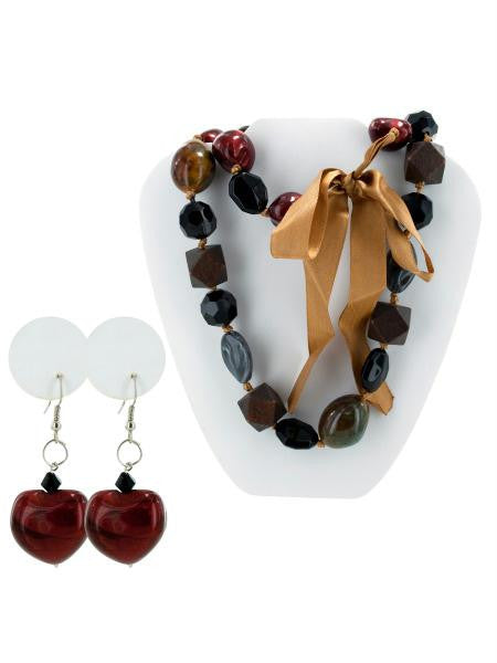 Chunky Beaded Necklace & Earrings Set (Available in a pack of 10)
