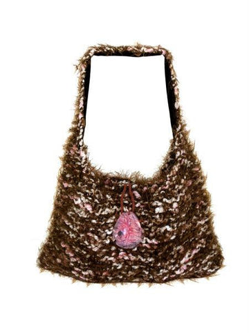 Hand Knit Brown-Pink Over-The-Shoulder Bag (Available in a pack of 1)