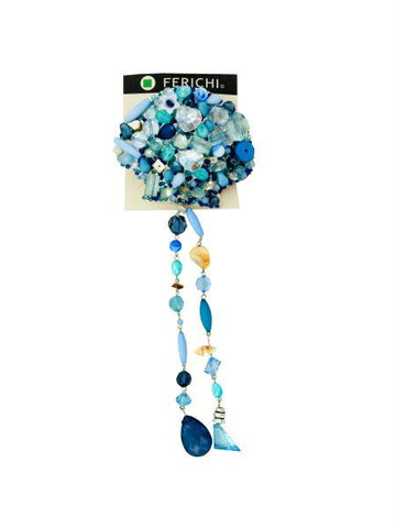 Hair Clip with Assorted Blue Beads (Available in a pack of 4)
