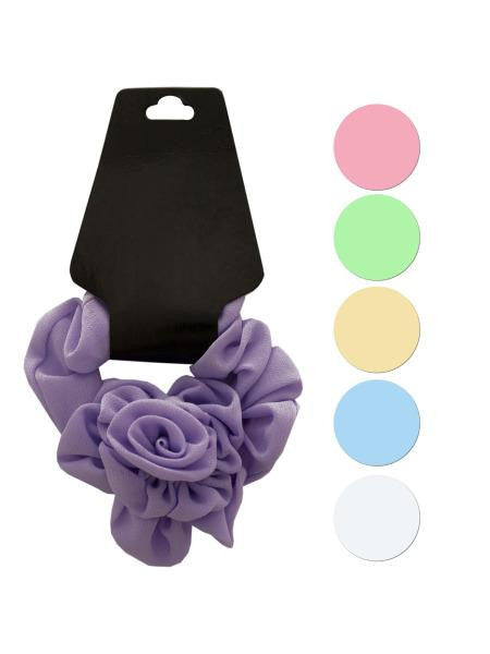 Pastel Hair Twister with Ruffle Rose Accent (Available in a pack of 24)
