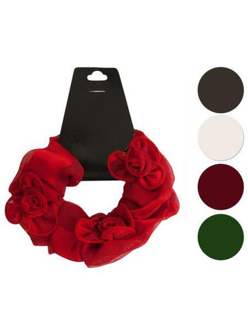 Satiny Hair Twister with Ruffle Flower Accents (Available in a pack of 24)