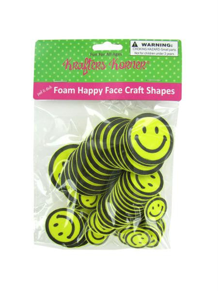 Peel & Stick Foam Happy Face Craft Shapes (Available in a pack of 12)