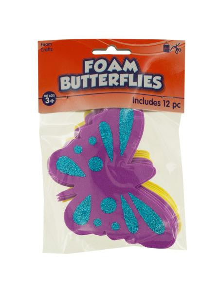 Foam Butterflies with Glitter (Available in a pack of 24)