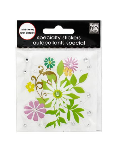 Flower Bouquet Rhinestone Specialty Sticker (Available in a pack of 24)