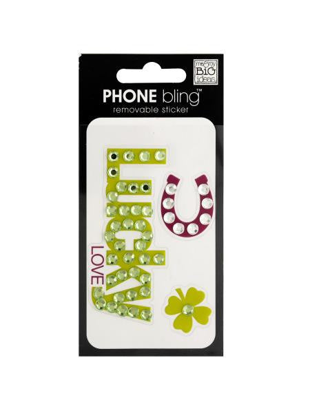 Lucky Love Phone Bling Removable Sticker (Available in a pack of 24)
