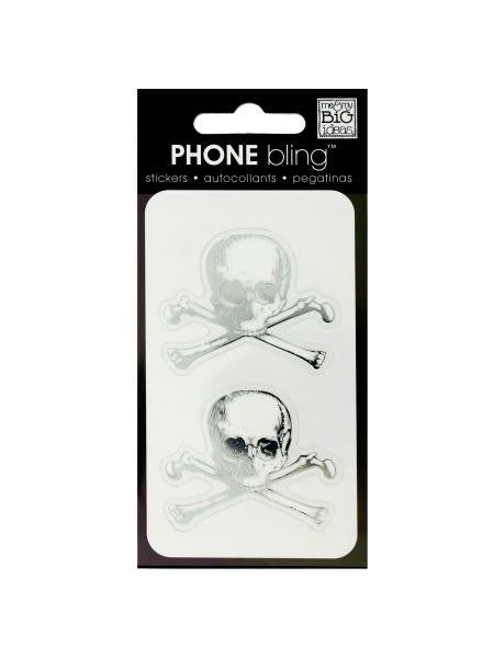Skull and Crossbones Phone Bling Removable Stickers (Available in a pack of 24)