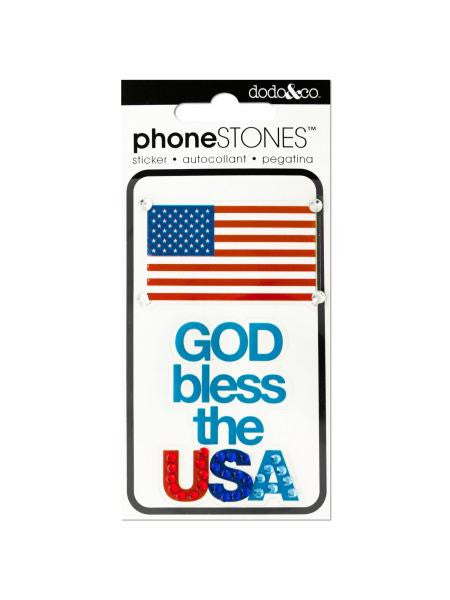 God Bless the USA Phone Stones Stickers (Available in a pack of 24)