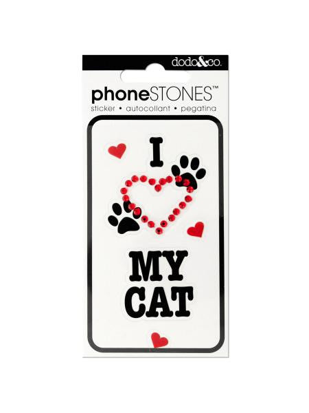 I Love My Cat Phone Stones Stickers (Available in a pack of 24)