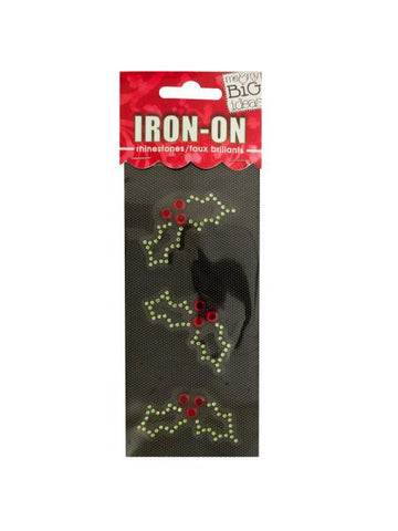 Holly Rhinestone Iron-On Transfer (Available in a pack of 24)