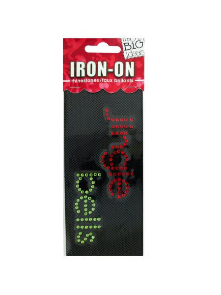'Jingle Bells' Rhinestone Iron-On Transfer (Available in a pack of 24) - Blobimports.com