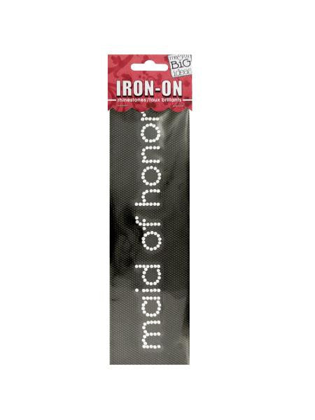 'Maid of Honor' Rhinestone Iron-On Transfer (Available in a pack of 24) - Blobimports.com