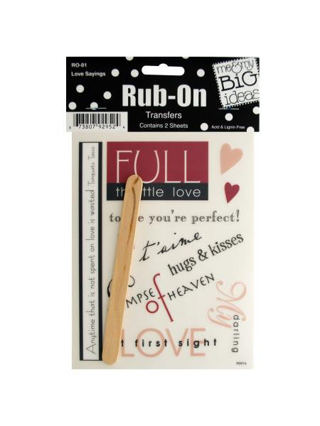 Love Sayings Rub-On Transfers (Available in a pack of 24)