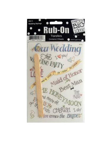 Wedding Sayings Rub-On Transfers (Available in a pack of 24)