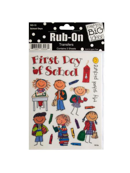 School Days Rub-On Transfers (Available in a pack of 24)